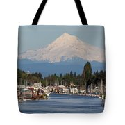 Mount Hood And Columbia River House Boats Tote Bag