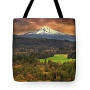 Mount Hood At Sandy River Valley In Fall Tote Bag
