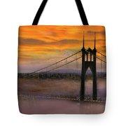 Mount Hood By St Johns Bridge During Sunrise Tote Bag