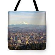 Mount Hood Over City Of Portland Oregon Tote Bag