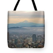 Mount Hood Over Portland Downtown Cityscape Tote Bag