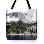 Mount Lassen Volcano In The Clouds Tote Bag