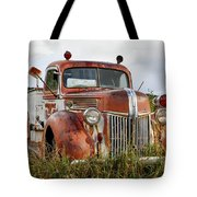 Old Fire Truck In The Mountains Tote Bag