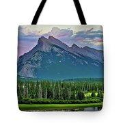 Mount Norquay At Dusk Tote Bag