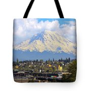 Mount Rainer Over Port Of Tacoma Tote Bag