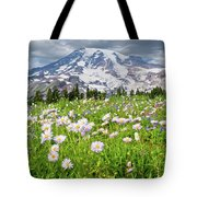 Mount Rainier And A Meadow Of Aster Tote Bag