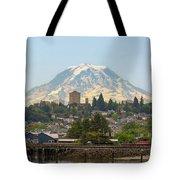 Mount Rainier At Tacoma Waterfront Tote Bag