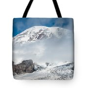 Mount Rainier Behind Clouds 3 Tote Bag