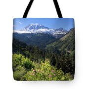 Mount Rainier From Scenic Viewpoint Tote Bag
