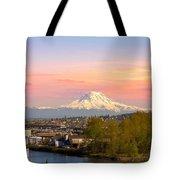 Mount Rainier From Tacoma Marina Tote Bag