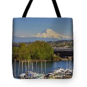 Mount Rainier From Thea Foss Waterway In Tacoma Tote Bag