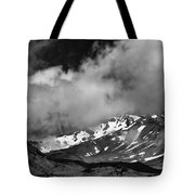Mount Shasta In Black And White Tote Bag