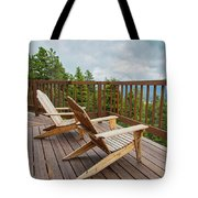 Mountain Adirondack Chairs Tote Bag