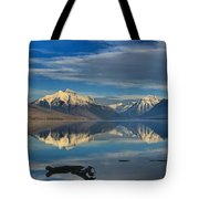 Mountain And Driftwood Reflections Tote Bag