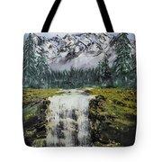 Mountain And Waterfall  Tote Bag
