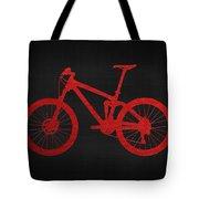 Mountain Bike - Red On Black Tote Bag