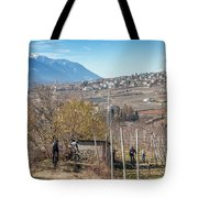 Mountain Bikers In Italian Alps Tote Bag
