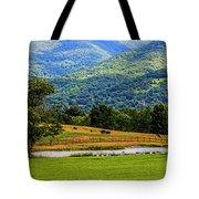 Mountain Farm With Pond Tote Bag