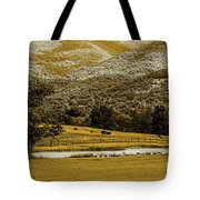 Mountain Farm With Pond In Artistic Version Tote Bag