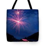 Mountain Fireworks Landscape Tote Bag