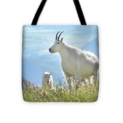 Mountain Goat Momma And Kid Tote Bag