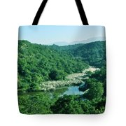 Mountain Greens And Water Tote Bag