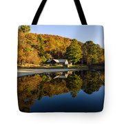 Mountain Lake Beach With Fall Color Reflections Tote Bag