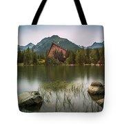 Mountain Lake Under Peaks Tote Bag