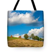 Mountain Landscape With Haystacks And Trees On Top Of Hill Tote Bag