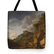 Mountain Landscape With River And Wagon Tote Bag