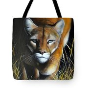 Mountain Lion In Tall Grass Tote Bag