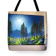 Mountain Moonglow Mural Winner Of The 2005 Coba Peoples Choice Award  Tote Bag
