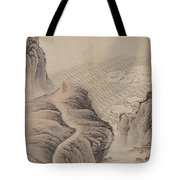 Mountain Path Landscape Ink Painting Tote Bag