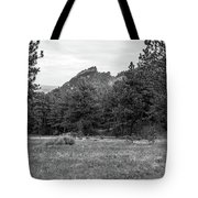 Mountain Peak Through The Trees In Black And White Tote Bag