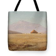 Mountain Plateau With Hut Tote Bag