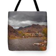 Mountain River Bridge Tote Bag