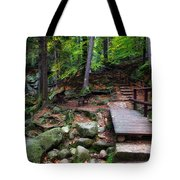 Mountain Trail With Staircase In Autumn Forest Tote Bag