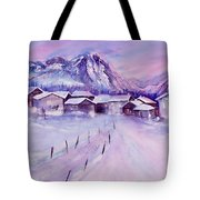 Mountain Village In Snow Tote Bag