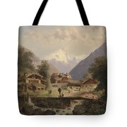 Mountain Village With Alpine Panorama Tote Bag