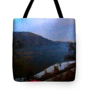 Mountain, Water And Road. Tote Bag