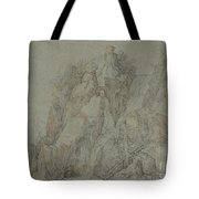 Mountainous Landscape With Castles And Waterfalls Tote Bag