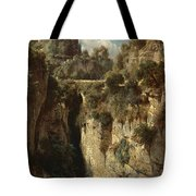 Mountainous Landscape With Waterfall Tote Bag
