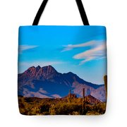 Mountains And Cactus Tote Bag