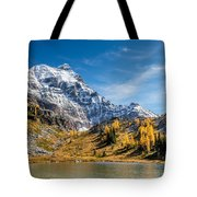 Mountains And Glaciers In Autumn Tote Bag