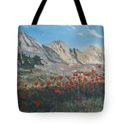 Mountains And Poppies Tote Bag