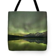 Mountains In The Northern Lights Tote Bag