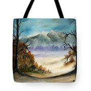 Mountains Landscape Oil Painting Tote Bag