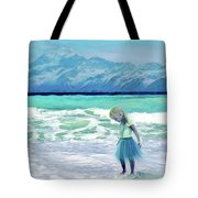 Mountains Ocean With Little Girl  Tote Bag