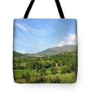 Mountains Sky And Homes In Village Of Swat Valley Khyber Pakhtoonkhwa Pakistan Tote Bag