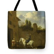 Mounted Trumpeter Taking A Drink Tote Bag